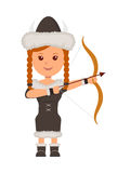 Viking. A girl in costume a viking with a bow and arrow aiming. Isolated character viking on the white background Royalty Free Stock Photo