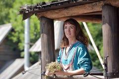 Viking girl in a retro dress Stock Photos