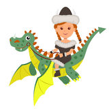 Viking girl sitting on a flying dragon. Isolated character viking and dragon on the white background Royalty Free Stock Photos