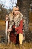 Viking girl warrior royalty free stock image