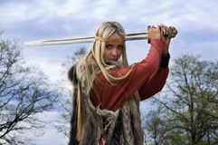 Viking girl warrior Royalty Free Stock Images