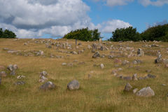 Viking grave yard, Lindholm Hoeje, Aalborg, Denmark Stock Images