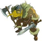 Viking hållande svärd och yxa Arkivfoton