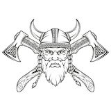Viking. Hand drawn of a viking in a helmet with ornament. Sketch of viking head with traditional weapons. Vector artwork stock illustration