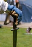 Viking hand on sword Stock Photography
