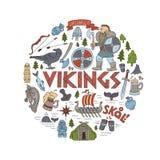 Viking-handdrawn conceptenillustratie Stock Afbeeldingen