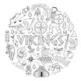 Viking-handdrawn conceptenillustratie Stock Foto's