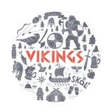 Viking-handdrawn conceptenillustratie Royalty-vrije Stock Afbeeldingen