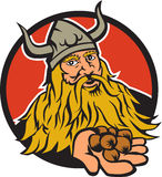 Viking Handing Hazelnut Circle Retro Stock Photo