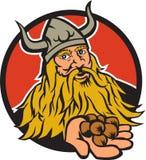 Viking Handing Hazelnut Circle Retro Stock Photo