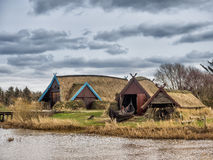 Viking harbor with longboats in Bork Stock Photos