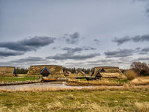 Viking harbor with longboats in Bork Royalty Free Stock Images