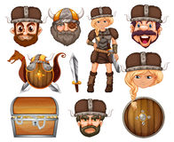 Viking heads and weapons Stock Images