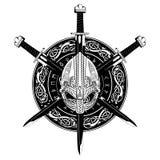 Viking-helm, het gekruiste zwaard van Viking en in een kroon van het Skandinavische patroon en schild van Viking Royalty-vrije Stock Foto's