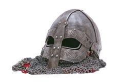Viking-helm op een witte achtergrond Stock Afbeeldingen