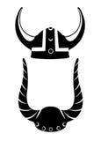 Viking-helm vlakke illustratie van de helm van Viking op houten textuur backgroud Stock Foto's