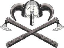 Viking helmet and ax Stock Photos