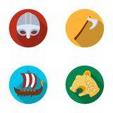 Viking helmet, battle ax, rook on oars with shields, dragon, treasure. Vikings set collection icons in flat style vector Royalty Free Stock Photography