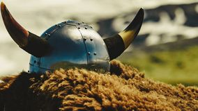 Viking helmet on mountain nature Norway royalty free stock images
