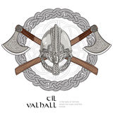 Viking helmet, crossed viking axes and in a wreath of Scandinavian pattern Stock Photography