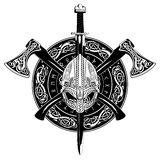 Viking helmet, crossed viking axes and in a wreath of Scandinavian pattern and viking shield Stock Photos