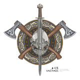 Viking helmet, crossed viking axes and in a wreath of Scandinavian pattern and viking shield Stock Photography