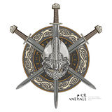 Viking helmet, crossed viking sword and in a wreath of Scandinavian pattern and viking shield Royalty Free Stock Photos
