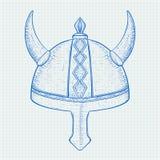 Viking helmet. Horned metal hat. Hand drawn sketch Royalty Free Stock Photos
