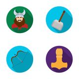 Viking in helmet with horns, mace, bow with arrow, treasure. Vikings set collection icons in flat style vector symbol Royalty Free Stock Photography