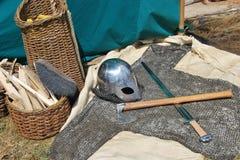 Viking Helmet op grond royalty-vrije stock foto's
