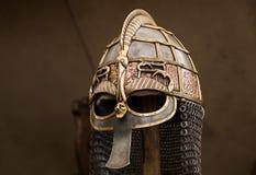 Viking helmet. Ornate, hand-forged viking helmet reconstruction. 10th - 11th century period Stock Photo