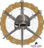 Viking helmet with three crossed swords on background Scandinavian pattern Stock Photos