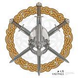 Viking helmet with three crossed swords on background Scandinavian pattern Royalty Free Stock Image