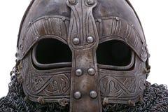 Viking helmet visor. With black eyes stock photography