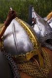 Viking helmets. Beautifull Danish Handcraftet Viking Helmets Stock Image