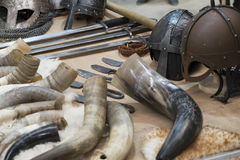 Viking helmets. Viking different helmets and horns Stock Photography