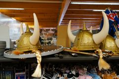 Viking helmets for sell in Iceland. Viking helmets for sell in market,Iceland Stock Image
