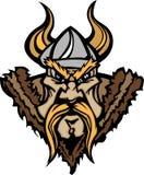 Viking/het Barbaarse Embleem van het Beeldverhaal van de Mascotte Royalty-vrije Stock Fotografie