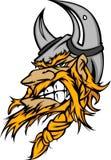 Viking/het Barbaarse Embleem van het Beeldverhaal van de Mascotte Stock Fotografie