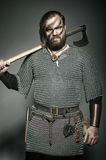 Viking with his axe on the grey background Stock Photos