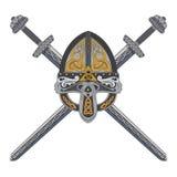 Viking hjälm med två korsade svärd och den skandinaviska modellen Royaltyfri Fotografi
