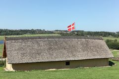 Viking-huis in Hobro, Denemarken Royalty-vrije Stock Afbeeldingen