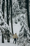 Viking hunter in pelt walking in snow winter forest with steel a Stock Image