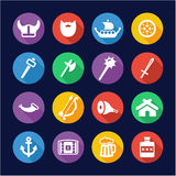 Viking Icons Flat Design Circle. This image is a illustration and can be scaled to any size without loss of resolution Royalty Free Stock Photography