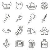 Viking Icons Thin Line Vector illustrationuppsättning Royaltyfri Bild