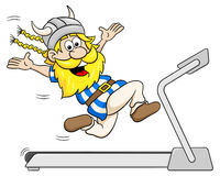 Viking jogging on a treadmill Stock Photos