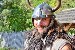 Viking keeps order in the tournament. International Championship on the historical medieval battle Call of heroes. It passes near Kiev, in the village of Stock Photos