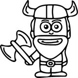 Viking kids coloring page Stock Photo
