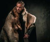 Viking konung i traditionell kläder för en krigare Royaltyfri Bild
