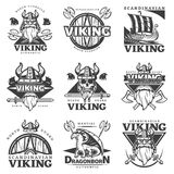 Viking Label Set d'annata Fotografia Stock Libera da Diritti